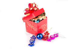 Red Gift Box with Christmas toys Stock Images
