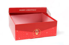 Red gift box and christmas tree. On isolated background Stock Image