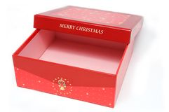 Red gift box and christmas tree Royalty Free Stock Photos
