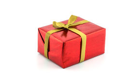Red gift box, concept new year and christmas day Royalty Free Stock Photo
