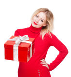 Red gift box cutie. Stock Photos