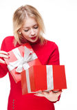 Red gift box cutie. Royalty Free Stock Photo
