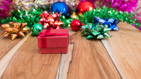 Red gift box decorations for Christmas and New Year Stock Photos