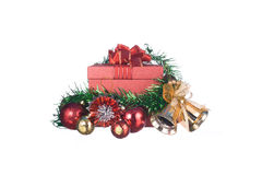 Red Gift box with decorations and color ball on white background Stock Photo