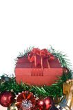 Red Gift box with decorations and color ball on white background Royalty Free Stock Photography