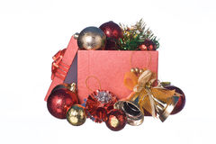 Red Gift box with decorations and color ball on white background Stock Image