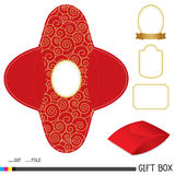 Red gift box design with label Stock Images
