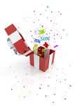 Red gift box with discounts Stock Image