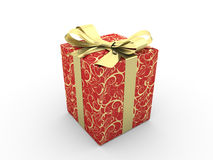 Red gift box fancy bow Stock Photos