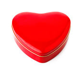 Red gift box in form of heart Stock Photos