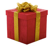 Red gift box with gold bow Stock Photos