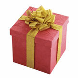 Red gift box with gold bow Stock Images