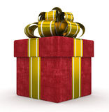 Red gift box with gold bow isolated on white background 3 Royalty Free Stock Images