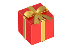 Red gift box with gold ribbon and bow Stock Photos