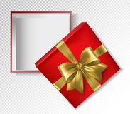 Red gift box with gold ribbon and bow - top view vector illustration. Realistic 3d illustration.  Royalty Free Stock Photo