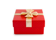 Red gift box and gold ribbon isolated clipping path. Stock Photos