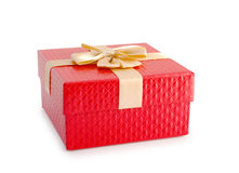 Red gift box and gold ribbon isolated clipping path. Royalty Free Stock Image
