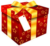 Red gift box with gold star Royalty Free Stock Images