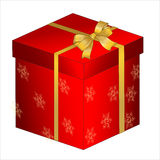 red gift box with golden bow Stock Photo