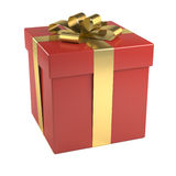 Red gift box with golden ribbon. Isolated on white background Royalty Free Stock Images