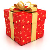 Red gift box with golden ribbon stock illustration