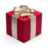 Red gift box with golden ribbon. Stock Photos