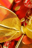 Red gift box with Golden ribbon Royalty Free Stock Images