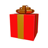 Red gift box with golden ribbon Stock Photography