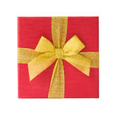 Red gift box with golden ribbon isolated over white Stock Photos