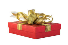 Red gift box. With golden ribbon,isolated on white background Royalty Free Stock Images