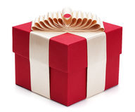 Red gift box with golden ribbon. Stock Image