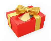 Red gift box with golden ribbon isolated on white background Royalty Free Stock Photos