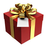 Red gift box with golden ribbon and paper card, PNG transparent background