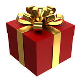 Red gift box with golden ribbon, PNG transparent background