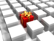 Red gift box with golden ribbon in white boxes Royalty Free Stock Photos