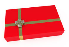 Red gift box, with golden ribbons, isolated. On white with clipping path Royalty Free Stock Photo