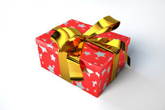 Red gift box with golden starts and a ribbon. Stock Photo