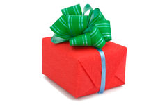 Red gift box with a green bow Royalty Free Stock Photos