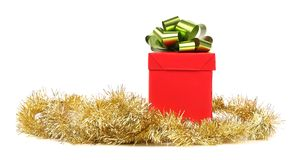 Red gift box and green bow. Stock Photos