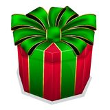Red gift box with green bow Stock Photos