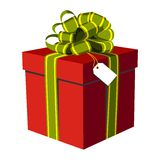 Red gift box with green and golden ribbon Royalty Free Stock Photos