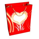 Red Gift Box with a heart Royalty Free Stock Image
