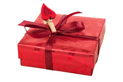 Red gift box with a heart Royalty Free Stock Images