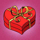 Red gift box in heart shape. Love Valentines day Stock Photo