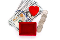 Red gift box and heart shape with money Royalty Free Stock Photo
