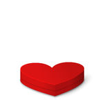 Red Gift Box in Heart Shaped for Valentines Day. Illustration Red Gift Box in Heart Shaped Isolated on White Background for Valentines Day - Vector Stock Photography