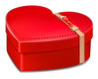 Red gift box  heart . valentine day  love Royalty Free Stock Photography