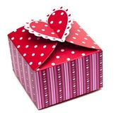 Red gift box and hearts Stock Photos