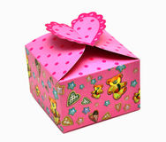 Red gift box and hearts Royalty Free Stock Image
