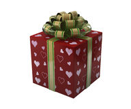 Red gift box with hearts. 3D illustration Stock Photography